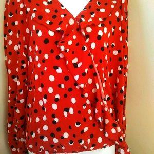 Poka dot red black white side tie top lg